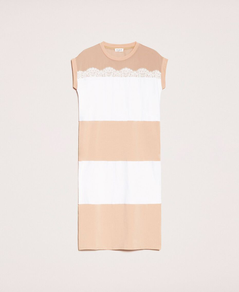 Two-tone long dress with lace Two-tone Optical White / Light Brown Woman 201ST2167-0S