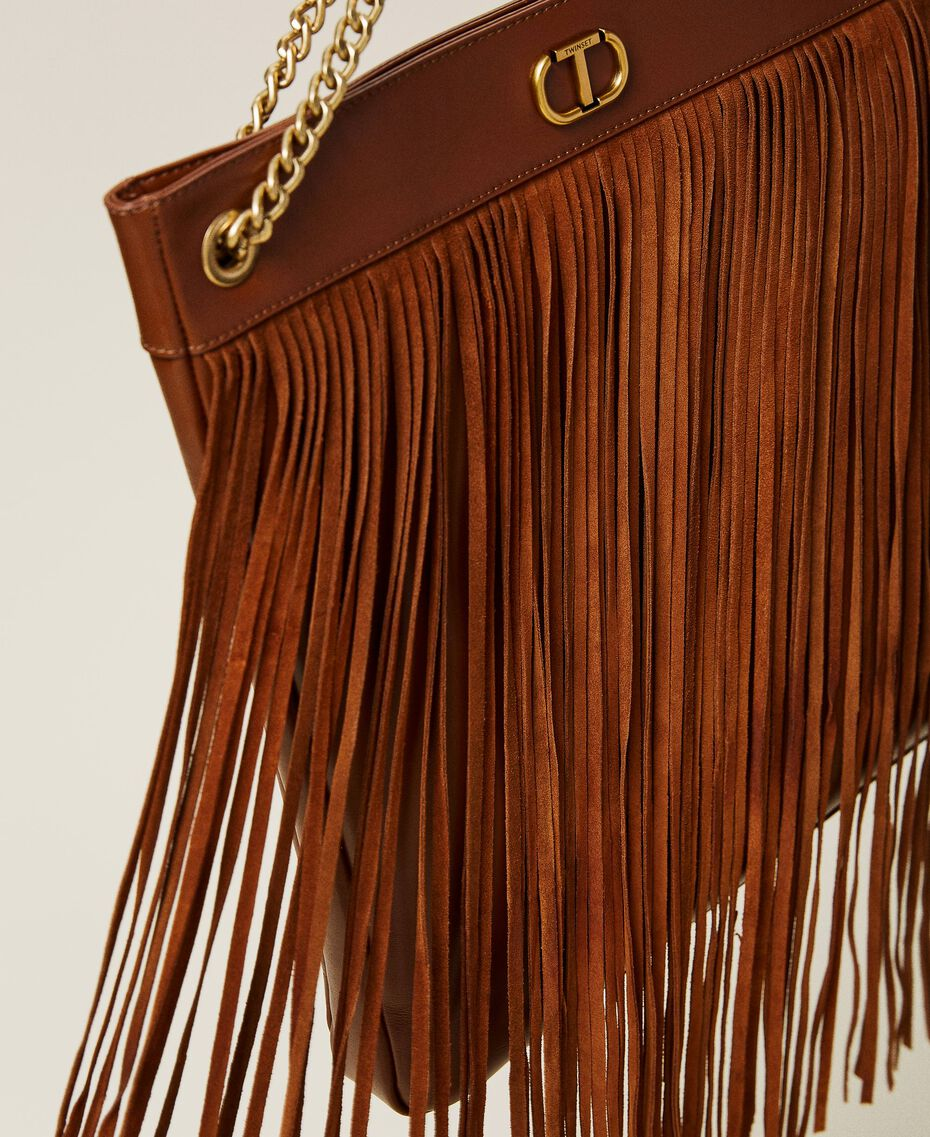 Leather bag with fringes Dark Hide Woman 212TD8010-01