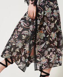Vestido caftán de muselina de flores Estampado Flor India Negro Mujer 211TT2683-06