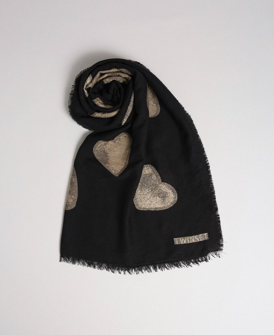 Fringed scarf with jacquard hearts Black Heart Woman 192TO536F-01
