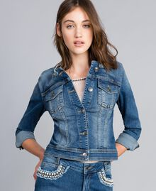 Denim jacket with pearls and bezels Denim Blue Woman JA82Z2-01