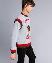 "Embroidered cotton sweatshirt with print Multicolour Grey Melange / ""Poppy"" Red / Alpine Green Man UA82DC-02"