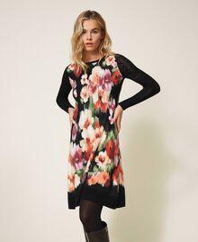 Трикотажное платье с цветочным принтом Цветок Шине Черный женщина 202TT3342-05