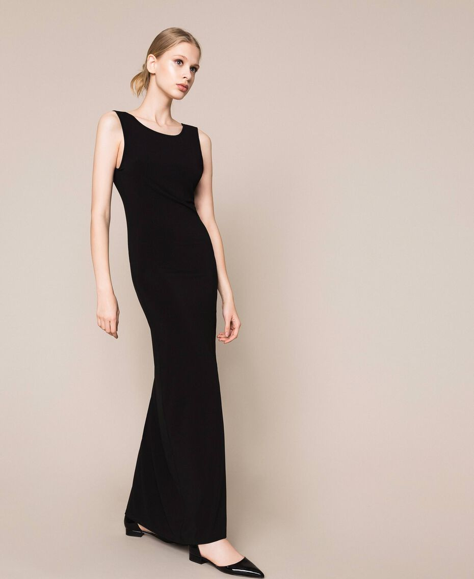 Long dress with slit Black Woman 201MT2152-02