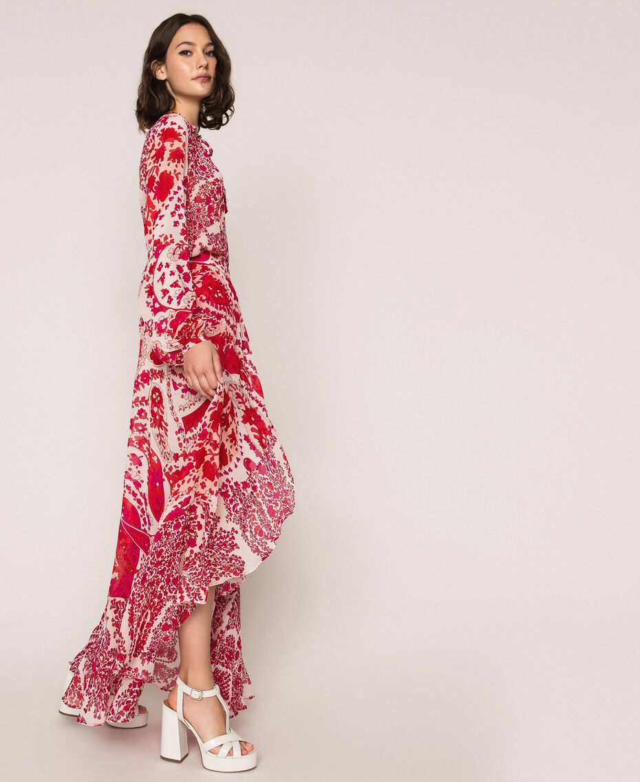 "Paisley print georgette skirt ""Lava"" Red Cashmere Print/ ""Blossom"" Pink Woman 201TP2535-01"
