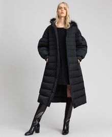 Long quilted padded jacket with real down Black Woman 192TT2173-06