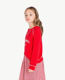 Pull broderie Bicolore Rouge Grenadier / Blanc Papyrus Enfant GS83FA-03