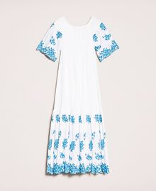 """Long scalloped dress with embroideries Two-tone """"Bay"""" Blue / Optical White Woman 201LM2NDD-0S"""