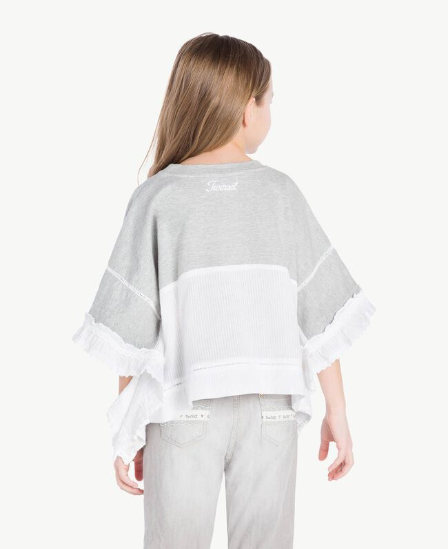 "Embroidered tunic ""Papyrus"" White Jacquard Stripes / Light Melange Grey Child GS82LB-04"