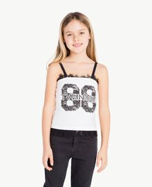 "Printed top Two-tone ""Papyrus"" White / Black Child GS82XB-02"