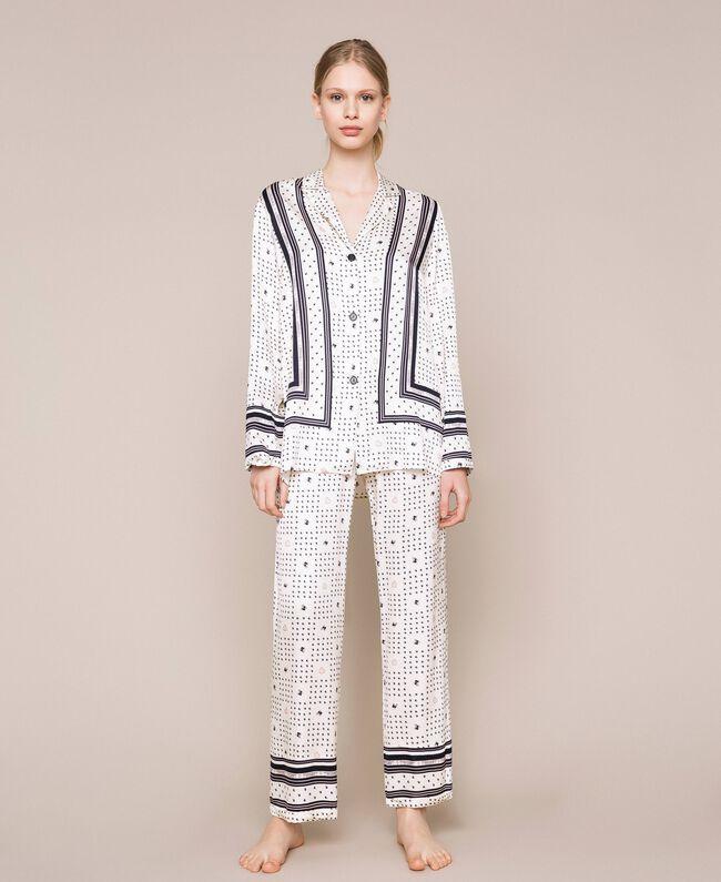 "Satin pyjamas with logo print Two-tone ""Peachskin"" Pink / Black Woman 201LL28AA-01"