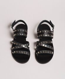 Leder-Sandalen mit Nieten Schwarz Frau 191TCP04G-02
