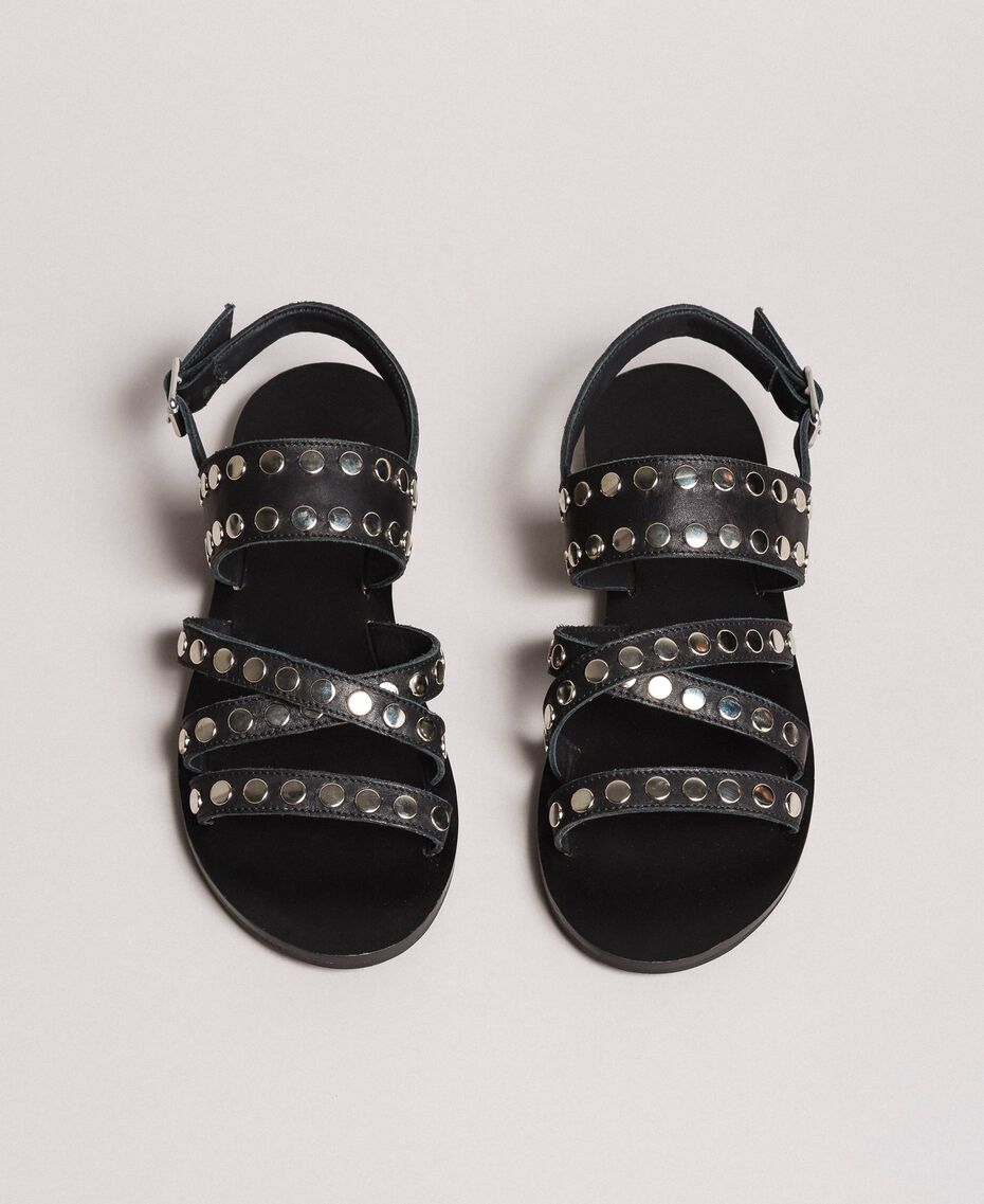 Leather sandals with studs Black Woman 191TCP04G-02