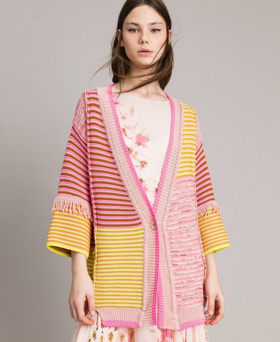 Patchwork effect maxi cardigan with fringes