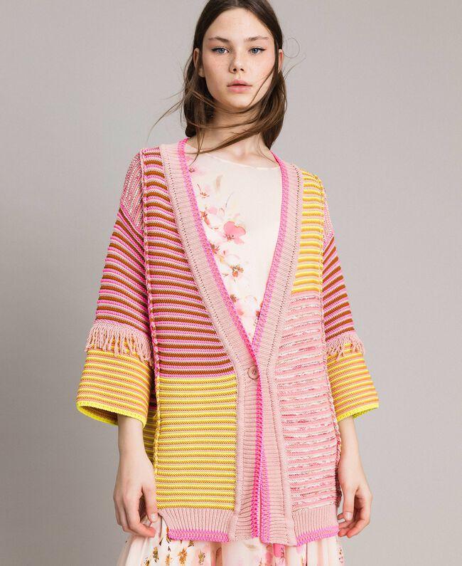 Maxicardigan im Patchwork-Look mit Fransen Streifen Patchwork Pink / Gelb Frau 191TP3310-01