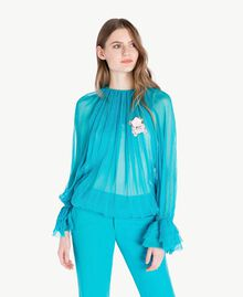 Blouse soie Turquoise Femme PS8221-01