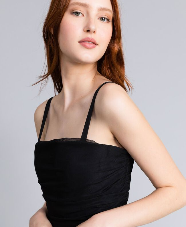 Robe fourreau en tulle Noir Femme QA8TH1-04