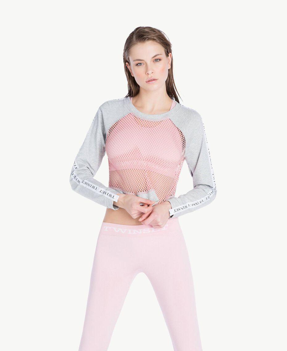Mesh sweatshirt Two-tone Mid Melange Grey / Pinkie Sugar Woman LS87AA-02