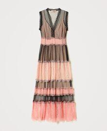 Robe longue en tulle et dentelle Bicolore Noir / Rose «Pêche Blossom» Femme 202TP2202-0S