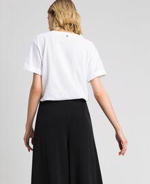 T-Shirt mit floraler Stickerei aus Strass und Pailletten Weiß Frau 192TP2715-04