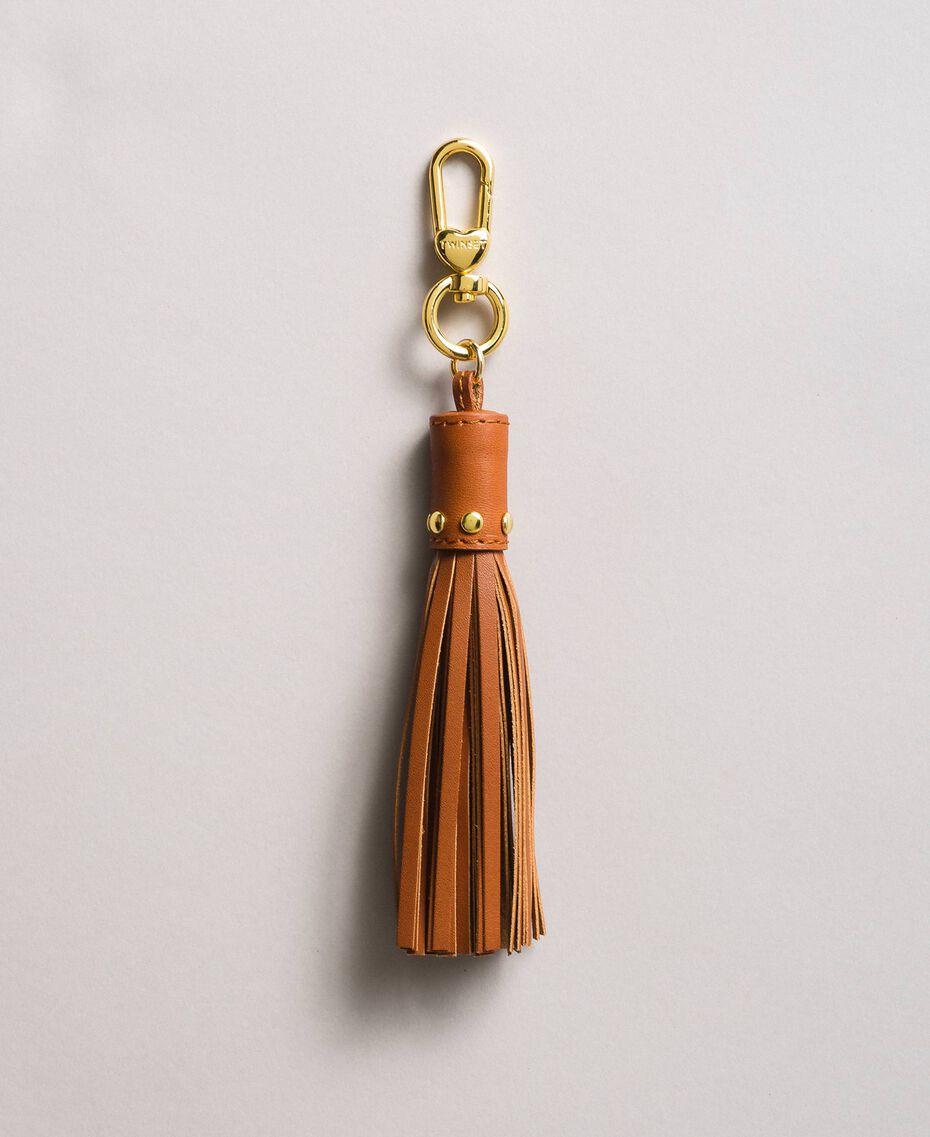 Leder-Schlüsselanhänger mit Quaste Leder Frau 191TO8264-01