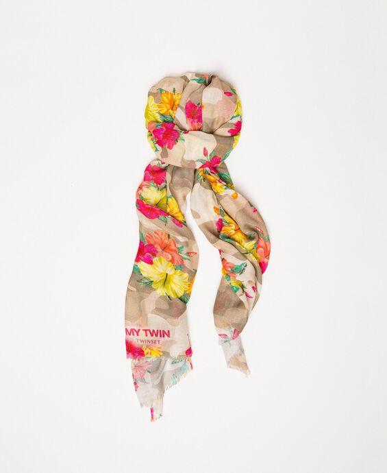 Étole imprimée camouflage et fleurs