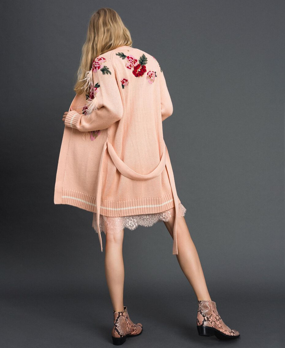 "Maxi cardigan with floral jacquard and embroidery ""Pale Pink"" Woman 192TP3322-05"