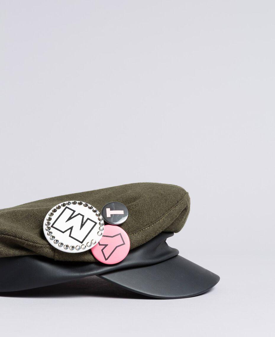 Schirmmütze aus Tuch und Lederimitat Alpengrün Frau VA8P21-02