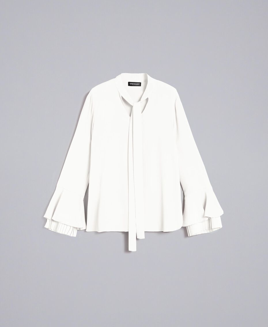 Pleated silk blend blouse White Snow Woman TA823T-0S
