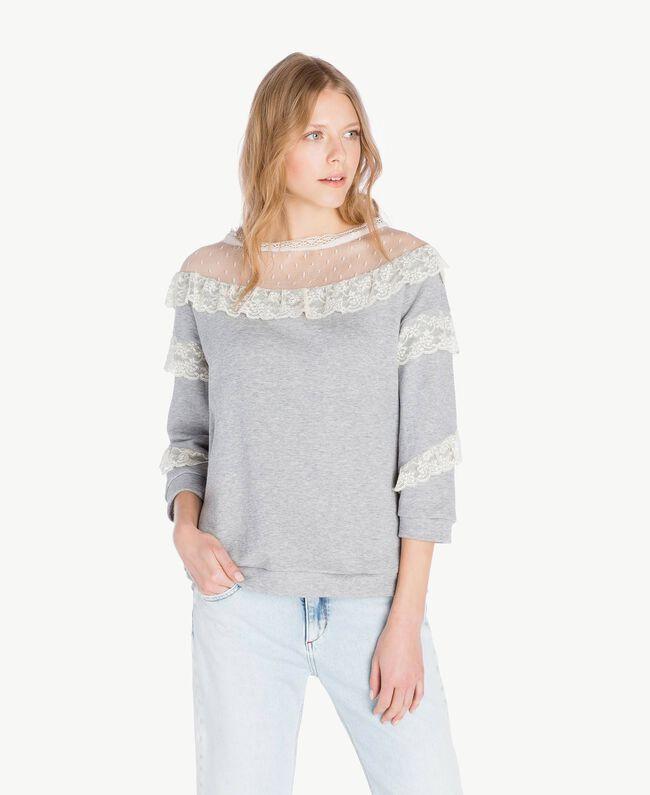 Sweat-shirt tulle Gris clair chiné Femme PS82UR-01
