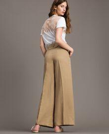 """Pantalon en lin Marron """"Désert Froid"""" Femme 191TT230A-04"""