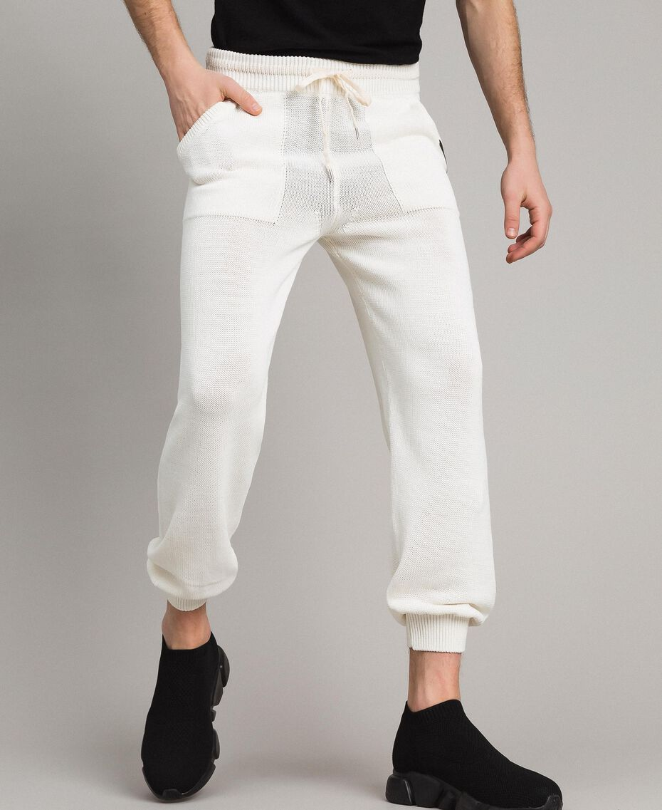 Cotton-blend jogging trousers Matte White Man 191UT3083-01