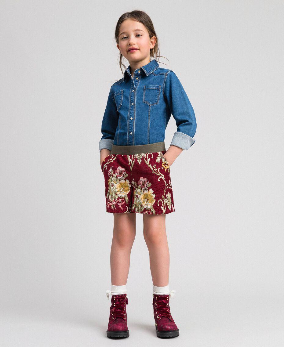 Short en brocart floral Jacquard Brocart Vin Rubis Enfant 192GJ2445-01