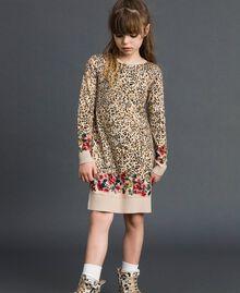 Mini-robe en maille animalière et florale Imprimé Léopard / Fleur Enfant 192GJ3180-05