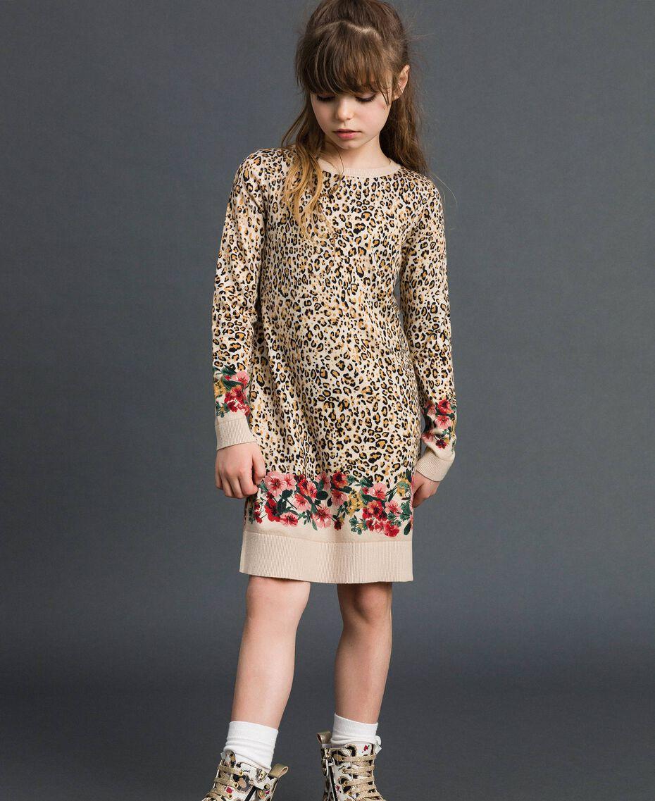 Ministrickkleid mit Animal- und Blumenprint Print Leopard / Blumen Kind 192GJ3180-05