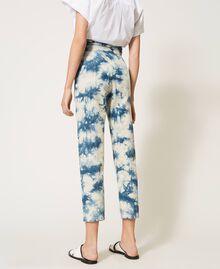 Pantalon taille haute tie & dye Tie Dye Blanc «Neige» / Bleu Femme 211TT2542-03