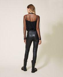 Pantalón pitillo de piel sintética Negro Mujer 202MP2081-03