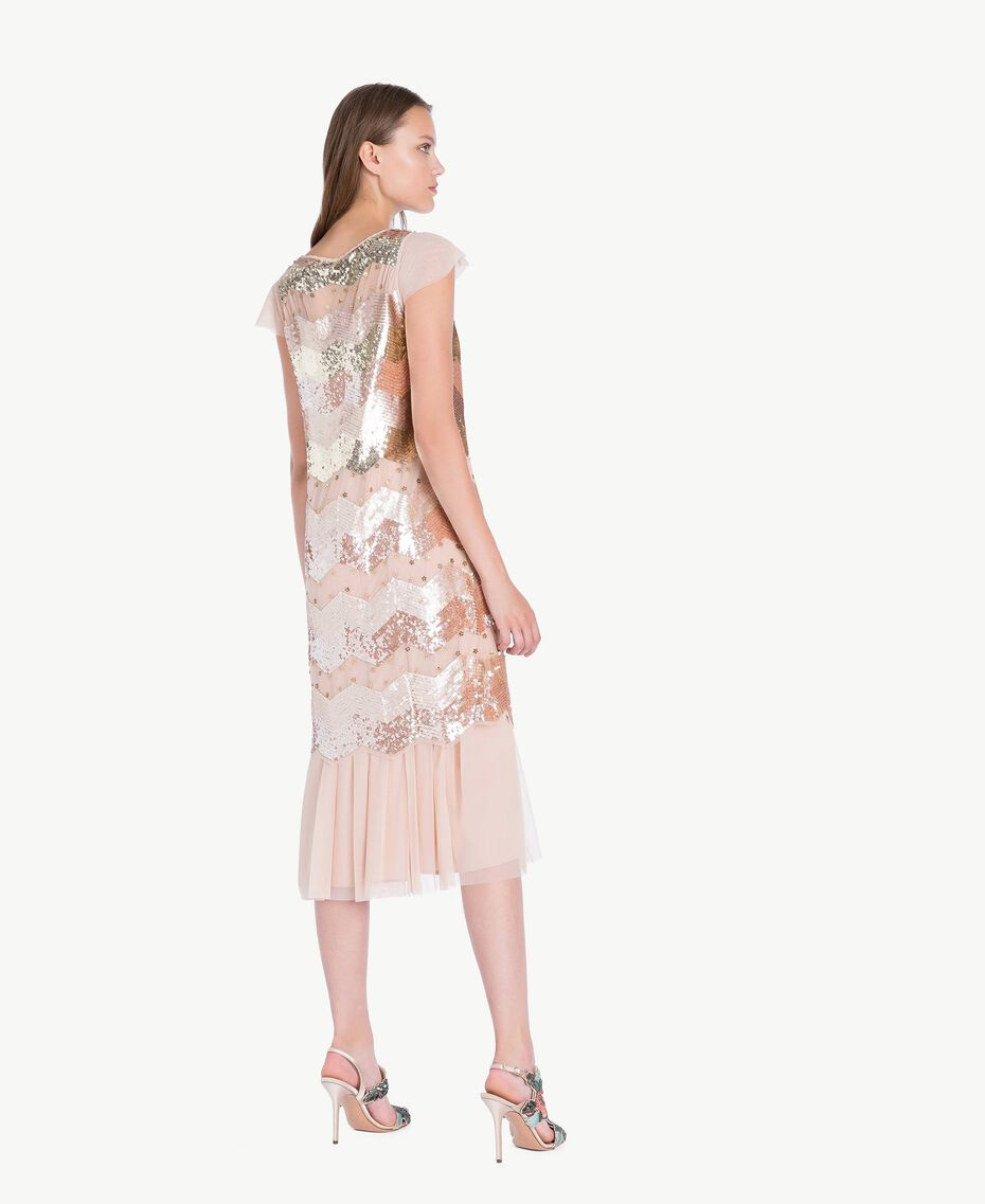 "Sequin tunic and tulle dress ""Nude"" Beige Female QA7PAQ-03"