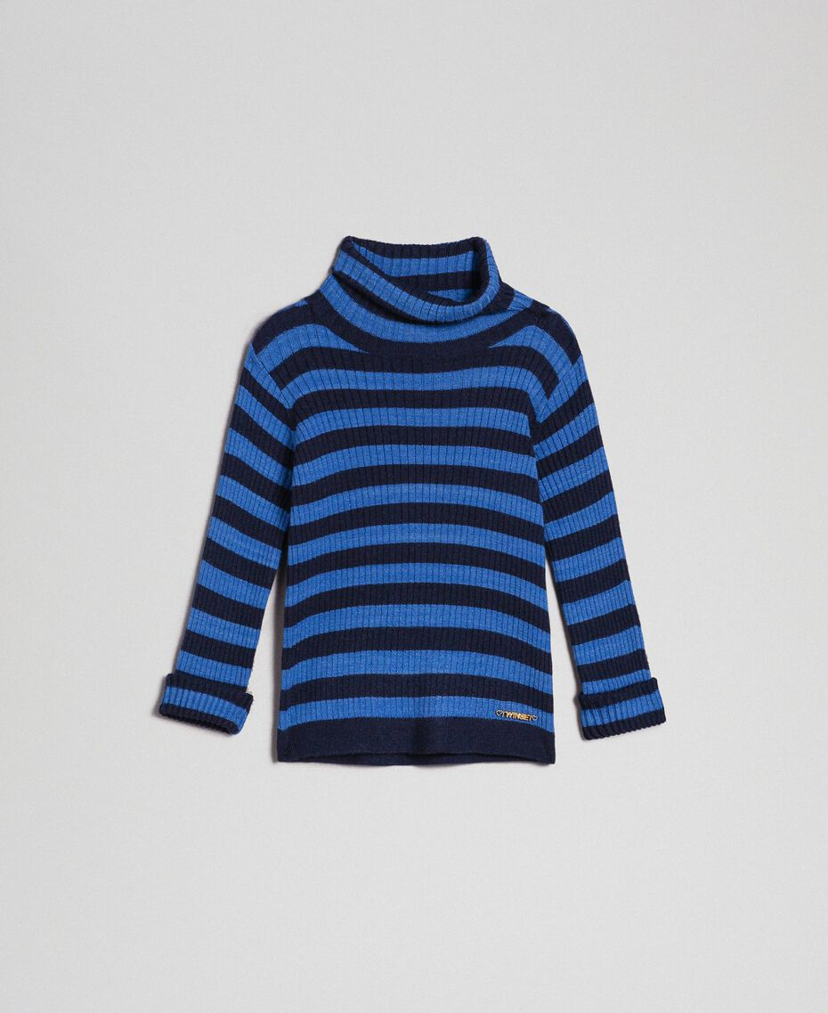 "Ribbed mock turtleneck with two-tone stripes ""Mediterranean"" Blue Striped Jacquard / Night Blue Child 192GB3170-01"