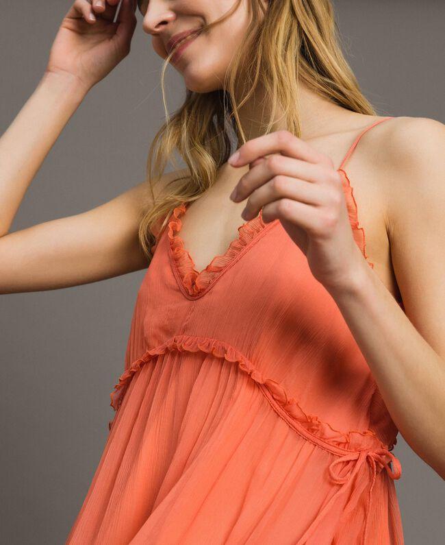 """Robe en soie avec volants Rouge """"Pomme Sauvage"""" Femme 191TT2422-04"""