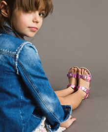 """Laminated leather sandals """"Crystal Pink"""" Child 191GCJ162-0S"""