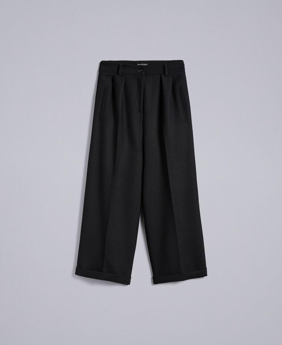 Cropped-Hose aus Bi-Stretch-Wolle Schwarz Frau TA8271-0S