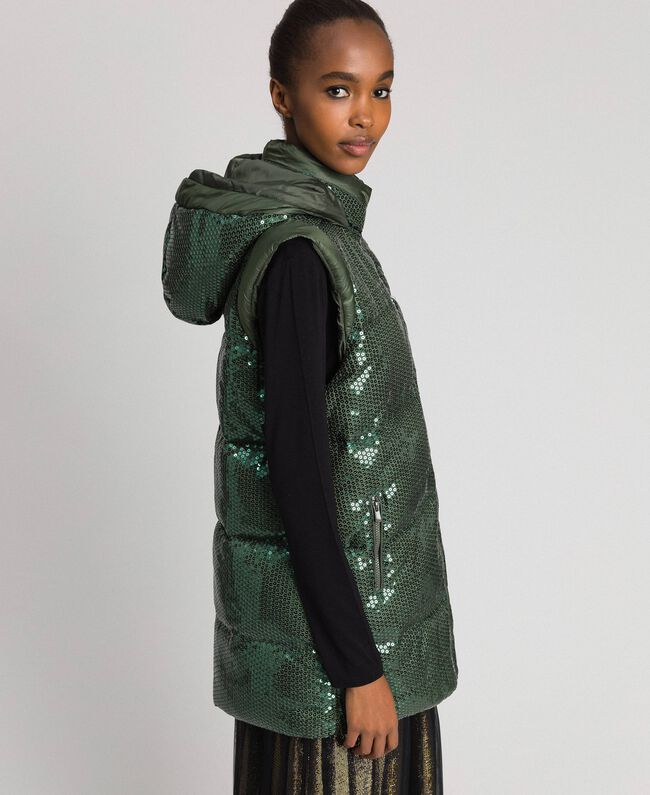 "Padded waistcoat with sequin embroidery ""Forest"" Green Woman 192ST2051-04"