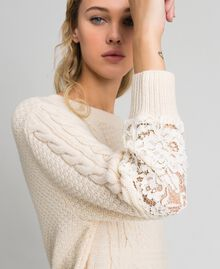 Wool blend dress with mixed stitches and lace Creamy White Woman 192ST3051-01