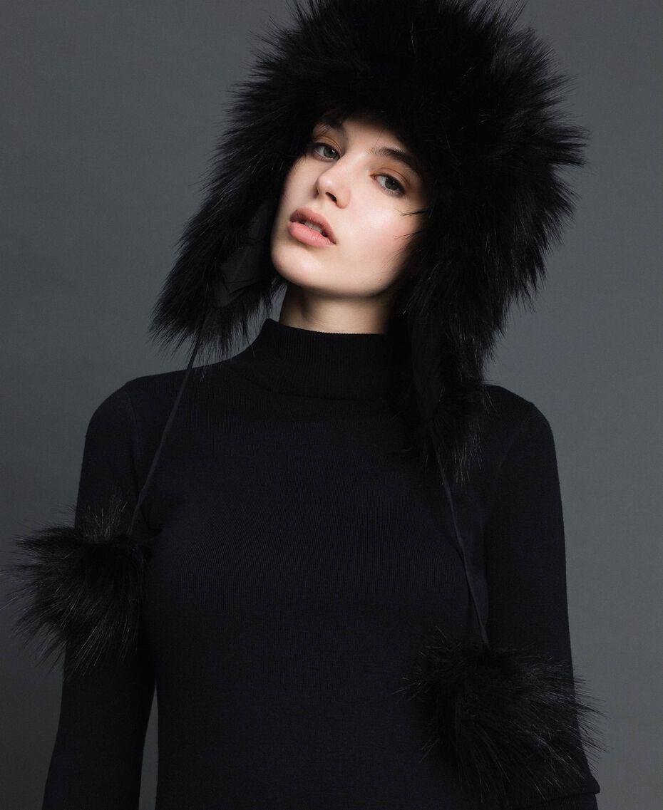 Bonnet en fausse fourrure avec pompons Noir Femme 192MO5300-0S