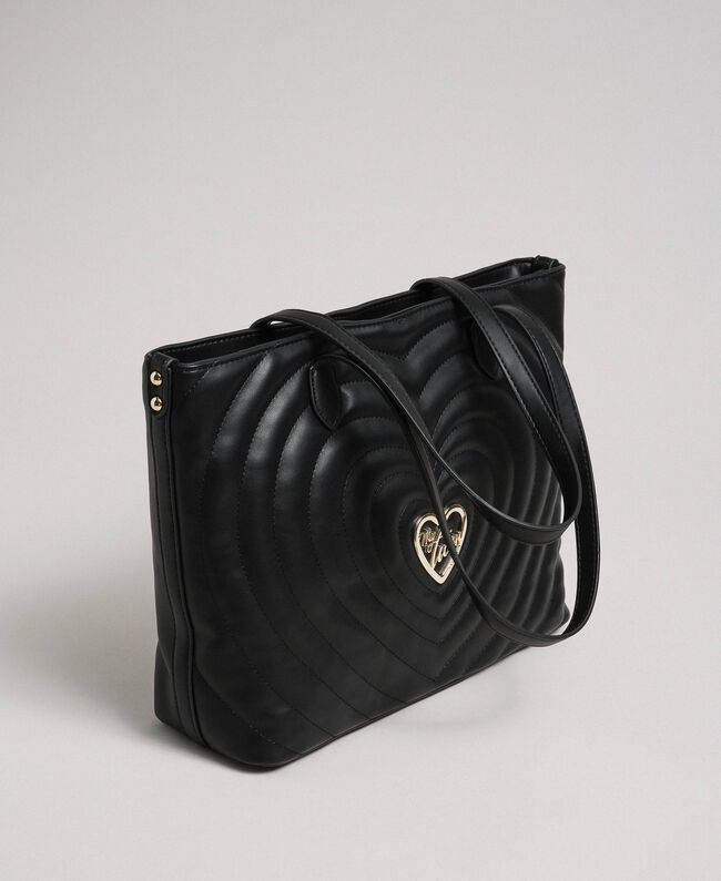 Faux leather shopping bag with quilted hearts Black Woman 192MA7081-01