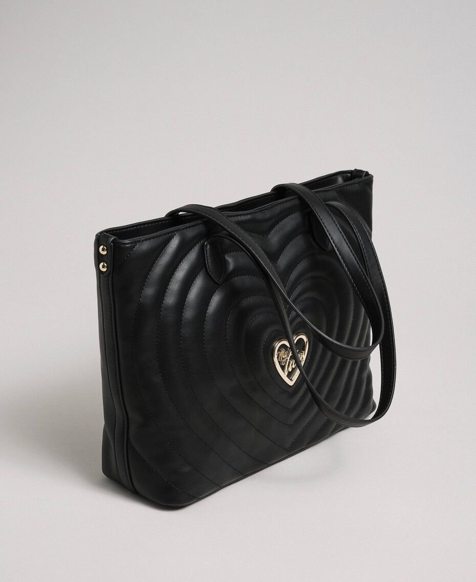 Borsa shopper in similpelle con cuori trapuntati Nero Donna 192MA7081-01