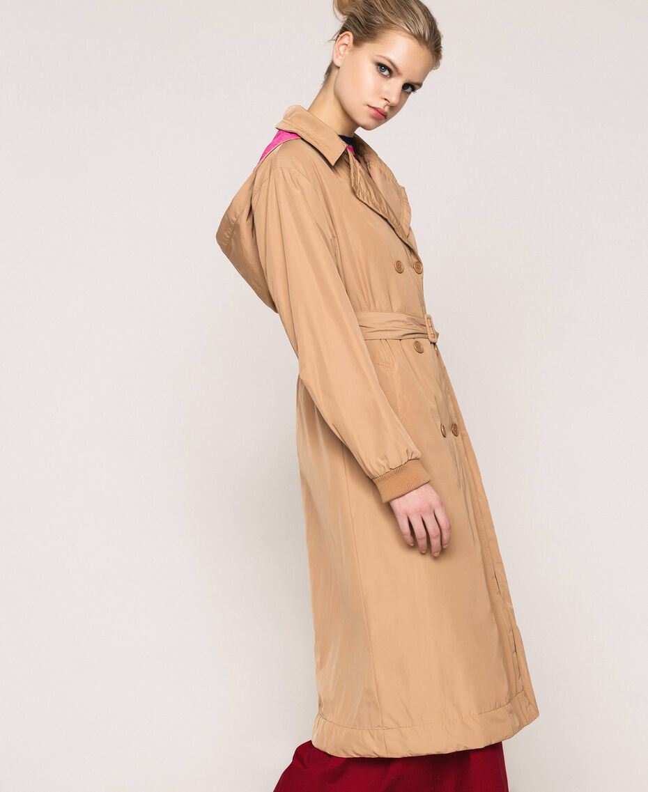 Double breasted taffeta trench coat Light Brown Woman 201ST2072-02