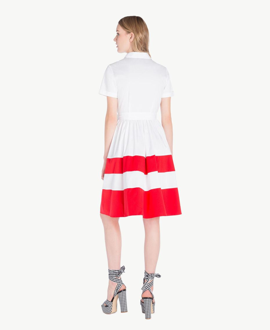 Robe chemisier popeline Bicolore Blanc Optique / Rouge Feu Femme YS82FC-03