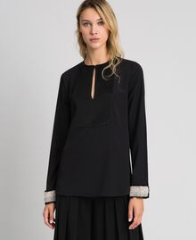 Blouse with pearl embroidery Black Woman 192TT2320-01